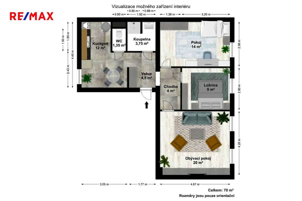 prodej bytu 3 1 osobni vlastnictvi 74 m slabce byt metry