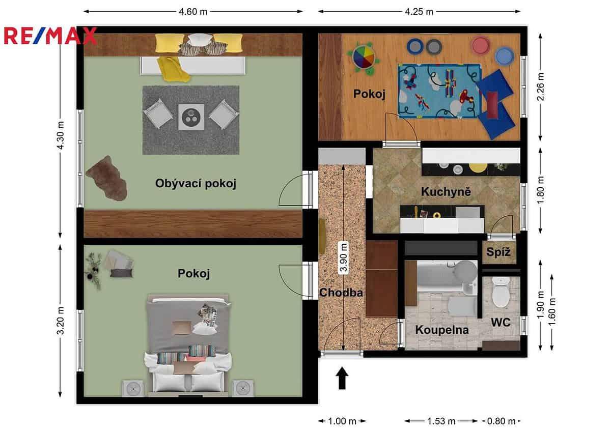 prodej bytu 3 1 56 m praha 5 zbraslav planek metry